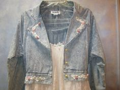 DENIM AND LACE Skirt and Jacket with Rosebuds by LosElementos, $49.00