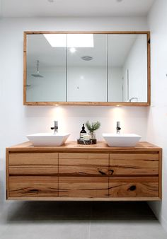 I like the floating vanity and this style of sink. recycled timber vanity with matching shaving cabinet - Bombora Custom Vanity Laundry In Bathroom, Bathroom Faucets, Narrow Bathroom, Vanity Bathroom, Basement Bathroom, Master Bathroom, Shared Bathroom, Bathroom Stuff, White Bathroom