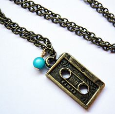 Recording Tape Cassette Necklace by MaruMaru on Etsy, $11.75