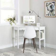 Corner Desk – White – Aiden Lane – Home Office Design Corner White Corner Desk, Modern Corner Desk, Small Corner Desk, Desks For Small Spaces, Small Desk Space, Ikea Corner Desk, Mesa Home Office, Home Office Desks, Home Office Furniture