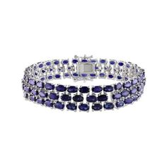 Women's Amour SHB000454 Sapphire Triple-Strand Bracelet - Blue... ($485) ❤ liked on Polyvore featuring jewelry, bracelets, blue, sapphire jewellery, sapphire jewelry, amour jewelry, blue jewelry and blue bangles