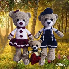 This is a crochet pattern of three sweet and lovely teddy bears – teddy bear girl, teddy bear boy and a little one with heart. You can make them bigger or smaller, it all depends on the yarn you choose. Pattern required intermediate skill level. This awesome teddy bear family is just for