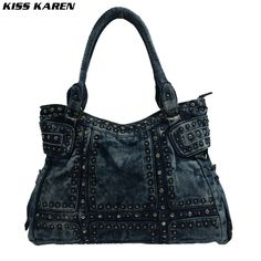 38.22$ Watch now - KISS KAREN Diamonds Rivet Vintage Fashion Denim Bag Women Tote Bags Jeans Ladies Handbags Women's Shoulder bags Casual Totes #buymethat