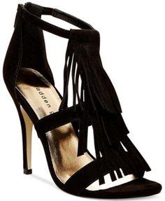 Madden Girl Demii Fringe Dress Sandals synthetic/suede black, taupe 4.5h sz7.5 49.00 30%off thru 10/24 (34.30)
