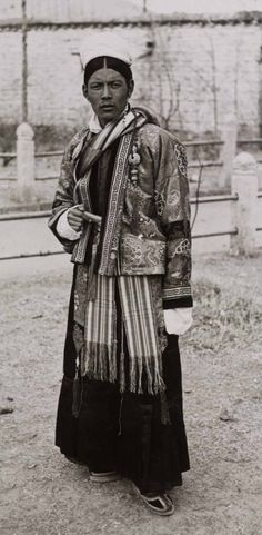 Tibet    Jigme Taring in ceremonial gyaluche dress at New Year Ceremonies.  February 1937.  Lhasa (Dekyi Lingka)    Photographer:  Frederick Spencer Chapman