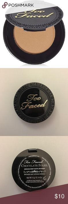 """Too Faced Chocolate Soleil Matte Bronzer Mini New, never used. In shade """"medium/deep"""". The perfect matte bronzer that also smells like chocolate. No packaging, a travel Mini, 0.14 oz. The last picture shows the shade/color of bronzer (I won't send you the used one which is mine)! I didn't want to open the new one -- ensuring to keep it clean for the new owner :) Too Faced Makeup Bronzer"""