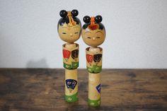 Misui Created Kokeshi lovely pair of vintage creative Kokeshi collectors Sosaku Kokeshi twins Kokeshi pair