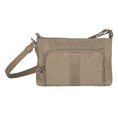 Travelon Anti-Theft Signature East West Slim Bag, Adult Unisex, Beig/Green (Beig/Khaki)