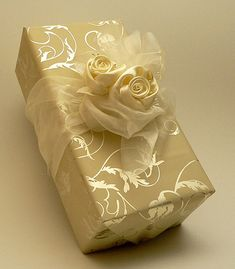 Lovely golden package with roses.