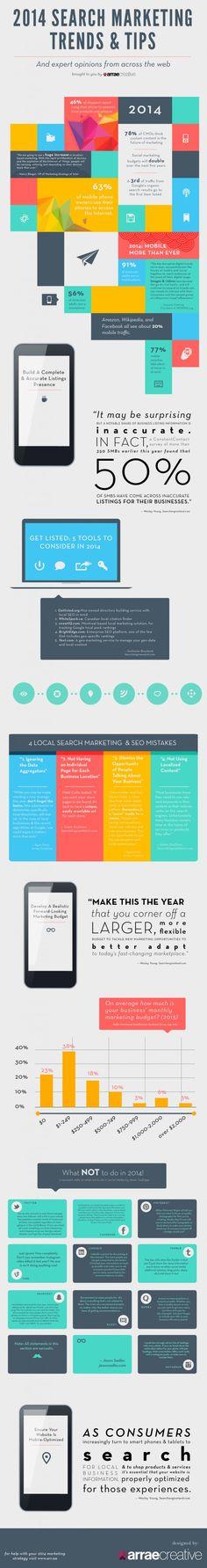 Conoce las tendencias sobre #marketing en #buscadores para el #2014 y los consejos de los expertos. #infografia