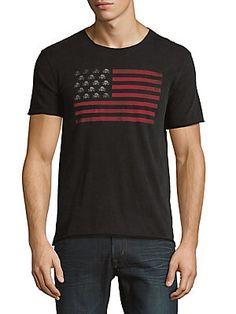 John Varvatos Star U.S.A. Skull Flag Graphic Cotton Tee Skull Flag, John Varvatos, Cotton Tee, Flags, Tees, Mens Tops, T Shirt, Shopping, Fashion