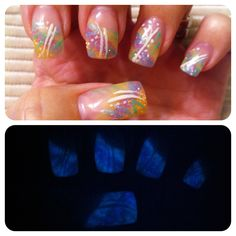 My Easter nails that glow in the dark!   Gel nails with hand drawn design using gel. I mixed glow in the dark powder into the glitter By Melissa Fox