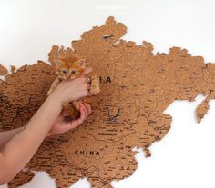 Sometimes there are cats in our workspace! Cork World Map, Cork Map, Home Wall Decor, Maps, How To Apply, Templates, Stickers, Gifts, Etsy