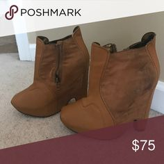 """Sam Edelman booties Brown suede and leather Sam Edelman booties (worn on side). 4.5"""" heel. Sam Edelman Shoes Ankle Boots & Booties"""