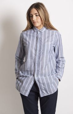 Engineered Garments Rounded Collar Shirt Light Blue Wide Multi Stripe - Shirts