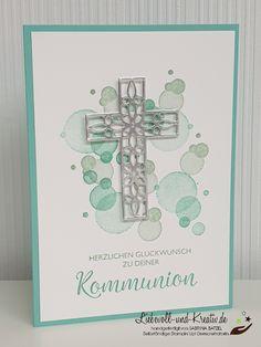 Taufe, Kommunion, Konfirmation Card for communion, confirmation or confirmation, invitation or congr Diy Birthday Invitations, Funny Birthday Cards, Stampin Up, Fun Fold Cards, Diy Cards, Communion, Invitation Design, Invitation Cards, Confirmation Cards