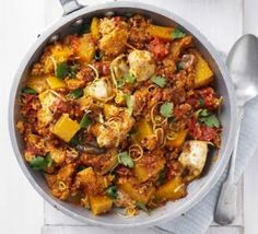 Butternut Squash and chicken pot. (Use black rice instead of couscous)