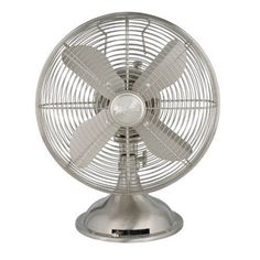 Hunter 90400 12 inch Retro Personal Table Fan, Brushed Nickel, Silver