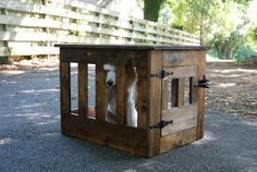 Wood Dog Crate, Dog Kennel End Table, Wooden Dog House, Rustic Pet Furniture