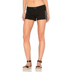 Black Orchid Lola Cut Off Short ($58) ❤ liked on Polyvore featuring shorts, jean shorts, denim cut-off shorts, studded jean shorts, studded denim shorts, short shorts and black orchid