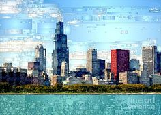 Digital Art - Chicago Skyline by Rafael Salazar
