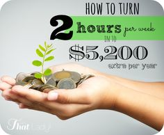 Is money tight? Here's how to turn 2 hours per week into an extra $5,200 per year!  That is a HUGE deal! #frugalliving #couponing