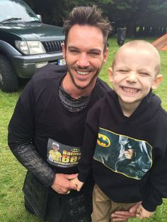 """BEN """"Batman"""" Farrell joined Jonathan Rhys Myers #jonathanrhysmeyers #jrm on the set of the Vikings this morning to help fundraise money for his life-saving cancer treatment."""