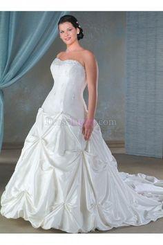 Plus Size Strapless Sleeveless Long/Floor-length Garden/Outdoor Taffeta Wedding Dresses WD237D