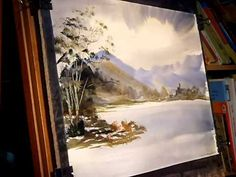 """This watercolour landscape painting demonstration features the beautiful Buttermere in the English Lake District.  The paper is 15"""" x 11"""" Fabriano watercolor paper.  Brushes used are the large Ron Ranson hake and a number 3 rigger.  My regular palette consists of 7 Cotman watercolours - Raw Sienna, Burnt Umber, Light Red, Ultramarine, Lemon Yell..."""