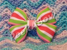 LimeGreen White and Pink hair bow  basic bow by PeekABowBows, $3.00
