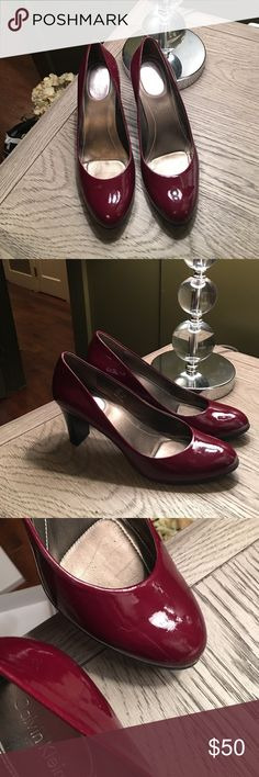 Calvin Klein Babe Patent Bordeaux Heel Bordeaux patent pump.  Worn twice at the most. There is a tiny scratch shown in the third photo on the left shoe toe 7 1/2 M Calvin Klein Shoes Heels