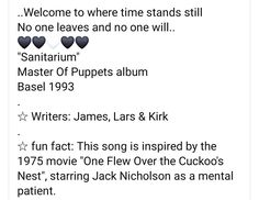Master Of Puppets, Time Stood Still, The 1975, Jack Nicholson, Metallica, Growing Up, Fun Facts, Writer, Album