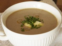 Mushroom Soup with Chives and Truffle Oil Recipe on Yummly