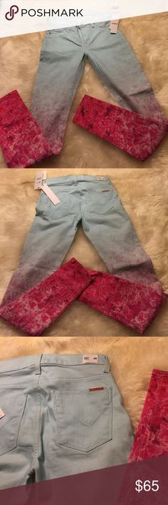 """Hudson Jeans Nico flowers Inseam28"""" long rise:8"""" long authentic Retail$198.00 Hudson Jeans Jeans Skinny"""