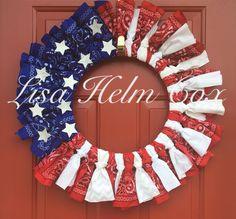 Bandana Flag Wreath, 4th of July, red white & blue