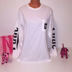NEW PINK VS BLING SHIRT WITH LOGO ON BOTH SLEEVES PINK VICTORIA'S SECRET  SHIRT WITH LOGO SEQUINED ON BOTH SLEEVES AND POCKET IN ONE SIDE. GORGEOUS PIECE!!!  COLOR BLACK AND WHITE SIZE M  FASTSHIPPING!!!✅✅✅  Check out my other items! I am sure you will find something that you will love it! Thank you for watch!!!!! Be sure to add me to your favorites list! PINK Victoria's Secret Tops Tees - Long Sleeve