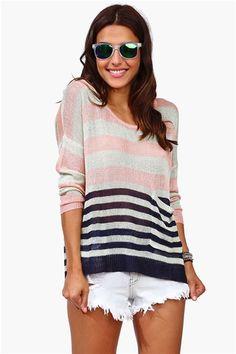 Spring Stripe Sweater - Blue/Pink