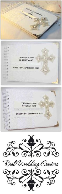 / These are great products.Personalised christening/Baptism/Naming Day guest book boy girl pink blue white  This book thoughtfully made by hands with love and passion, from high quality materials.    The books size is A5 (approx. 8.5 x 6)  The guest book is A5 format  measures 21cm x 15.5cm (8in x 6in) . Contains 20 high quality ring bound pages 40 sides.   The pages is from 120 gm paper.  (...) (via pushapin.com)