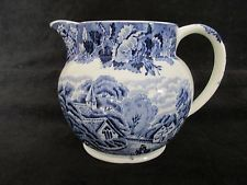 """ENOCH WOODS & SONS ENGLAND BLUE TRANSFER SCENERY 6"""" X 4 1/2"""" PITCHER"""