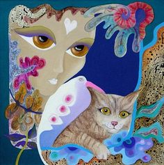 bird,cat and young girl by Rezzan Ganiz, FantasticDream Career In Fashion Designing, Local Painters, Photo Animaliere, Floral Photography, Here Kitty Kitty, Art Deco Jewelry, Cat Art, Female Art, Art Images