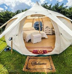 lotus belle 5 metre beautiful hand made glamping tents yurt tipi .Now this is camping. Camping Diy, Camping Glamping, Camping Survival, Camping Gear, Camping Hacks, Luxury Camping, Camping Essentials, Campsite, Tent Camping Beds
