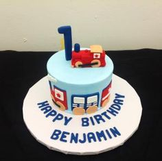 Boy's Train 1st Birthday Cake