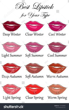 Best lipstick colors for all types of appearance. Seasonal color analysis palette for Winter, Spring, Summer and Autumn Best lipstick colors for all types of appearance. Seasonal color analysis palette for Winter, Spring, Summer and Autumn Winter Lipstick, Summer Lipstick, Best Lipstick Color, Best Lipsticks, Fall Lipstick Colors, Lipstick Palette, Cool Winter Color Palette, Soft Summer Color Palette, Deep Winter Colors