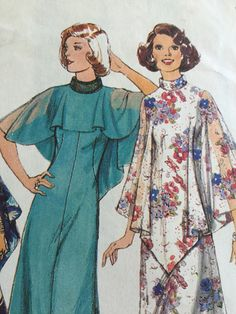 Sewing pattern - evening dress, retro sewing pattern - 1970s dress pattern -  Size 10, Bust 32.5 in - vintage pattern