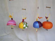 "I love these flying gourds named ""trapezistas"" by Gina Celeghini, Brazilian Artist form Minas Gerais."