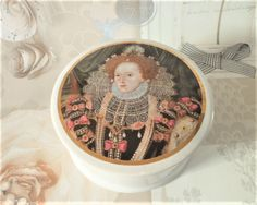 Queen Elizabeth I Patum Peperium Pot & Lid Vintage  Transfer Print Gentlemen's Relish Container Collectables by BelieveToBeBeautiful on Etsy