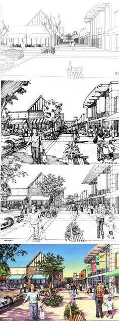 DLR Group, Ward Parkway.  Rendering process: CAD wireframe, thumbnail sketch (30 minutes), Inked rendering, color drawing.  Renderings by Bruce Bondy, Bondy Studio.