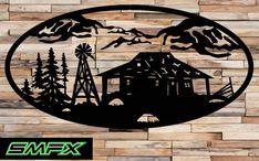 Large cabin Scene Metal wall art Oval Insert 18 by SCHROCKMETALFX