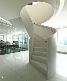 Corian Freeform Spiral Stair by Perkins+Will Contemporary Stairs, Contemporary Decor, Glass Conservatory, Contemporary Kitchen Cabinets, Corian, Decor Styles, Spiral Stair, Furniture, Frankfurt