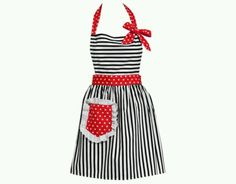 outline vintage apron Red